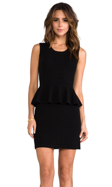 Autumn Cashmere Sleeveless Peplum Patent Dress in Black