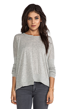 Autumn Cashmere Tissue Cashmere Crew With Uneven Rib Sweater in Birch