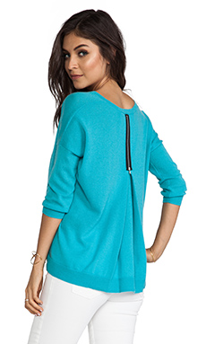 Autumn Cashmere 3/4 Sleeve Zipper Back Sweater in Tide Pool