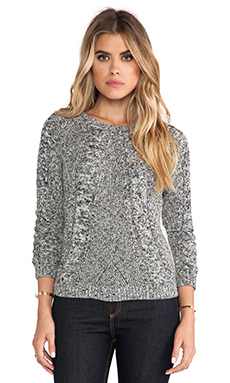 Autumn Cashmere Tweed Cable Front Raglan Sweater in Hemp & Black