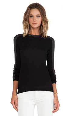 Autumn Cashmere Athletic Crew Sweater en Black Combo