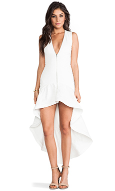 Alexis Fabiolla High-Low Ruffle Dress in Scuba White
