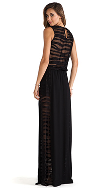 Alexis Pat V Neck Maxi Dress in Black Safari