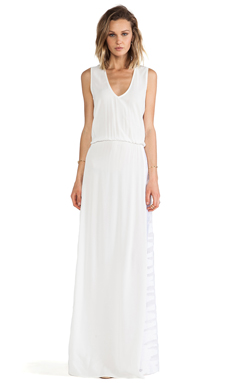 Alexis Pat V Neck Maxi Dress in White Safari