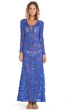 Alexis Narau Lace Up Detail Maxi Tunic in Indigo
