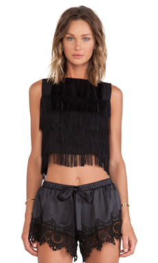 Alexis Almere Fringe Crop Top in Black