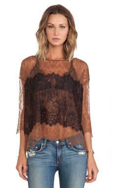 Bailey 44 Table Lace Top en Butterscotch & Black