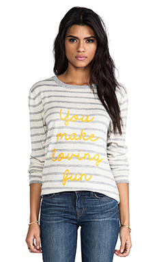 Banjo & Matilda Fun Loving Sweater in Grey & Ivory