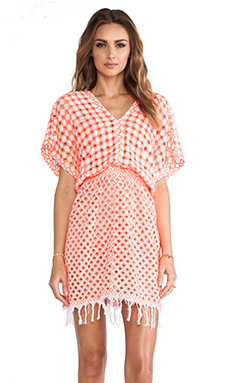 Basta Surf Islita Tunic in White & Neon Coral