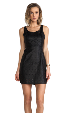 Jack by BB Dakota Kira Perforated PU Mini Dress in Black