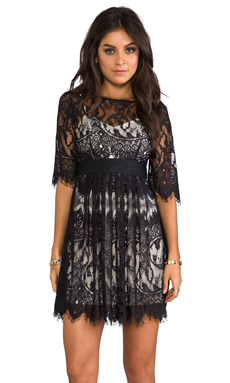 BB Dakota Jessica Scallop Lace Dress in Black