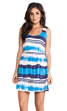 Jack by BB Dakota Jamband Wave Printed Tank Dress in Menthly Blue