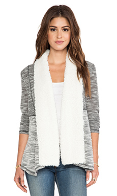 Jack by BB Dakota Applin Cardigan with Faux Fur trim in Black & Oatmeal