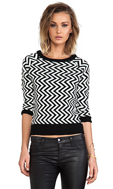 BB Dakota Emalee ZIg Zag Pattern Sweater in Black