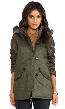 Jack by BB Dakota Haiden Long Coat w/ Faux Fur in Army Green