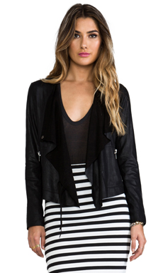 BB Dakota Lux lamb Leather Moto Jacket en Noir