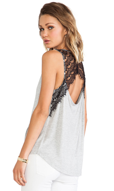 Jack By BB Dakota Mindy Lace Tank in Heather Grey