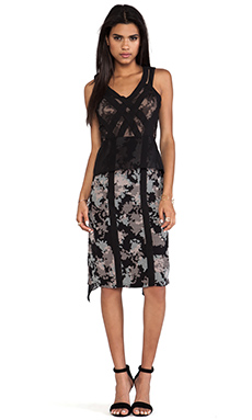 BCBGMAXAZRIA Runway Floral Dress in Black Combo