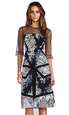 BCBGMAXAZRIA Combo Print Dress in Black Combo