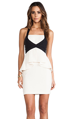 BCBGMAXAZRIA Peplum Dress in Cream Combo