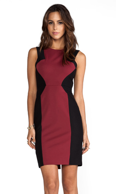 BCBGMAXAZRIA Evelyn Sleeveless Colorblock Dress in Merlot
