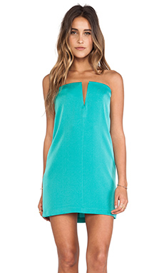BCBGMAXAZRIA Nahara Strapless Dress Green in Dark Sea