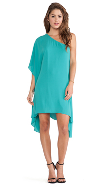 BCBGMAXAZRIA Alana One Shoulder Dress in Dark Sea Green