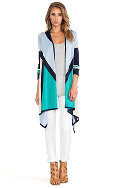 BCBGMAXAZRIA Beret Cardigan in Sea Green Combo