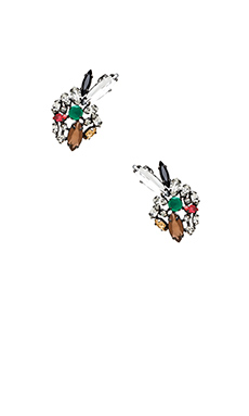 BCBGMAXAZRIA Multi Color Floral Earring in Amazon Green Combo