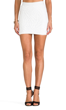 BCBGMAXAZRIA Paxton Sequin Skirt in White Combo