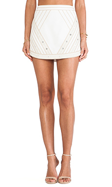 BCBGMAXAZRIA Printed Mini Skirt in Off White