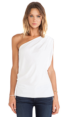 BCBGMAXAZRIA Carli One Shoulder Top in White