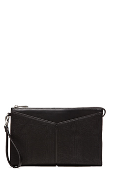 BCBGMAXAZRIA Angeled Slip Pocket Wristlet Clutch in Black