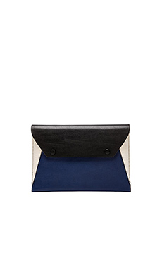 BCBGMAXAZRIA Sophie Exotic Embossed Envelope Clutch in Classic Blue Combo