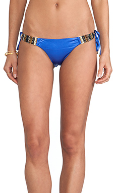 Beach Bunny Solid Beaded Skimpy Bottom in Sapphire