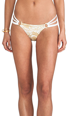 Beach Bunny Gunpowder and Lace Skimpy Bottom in White & Gold