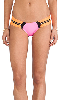 Beach Bunny Neon Zip Skimpy Bottom in Neon Pink & Orange