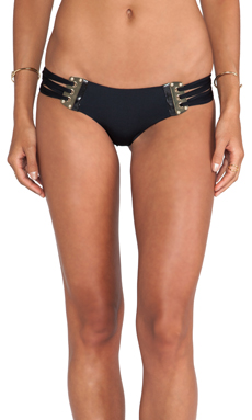 Beach Bunny Corset Skimpy Bottom in Black & Gold