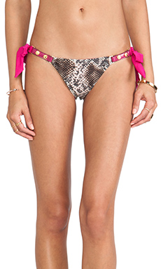 Beach Bunny Snake Skimpy Bottom in Grey & Pink