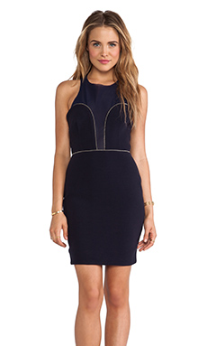 BEC&BRIDGE Magnetic Mesh Bustier Dress in Navy
