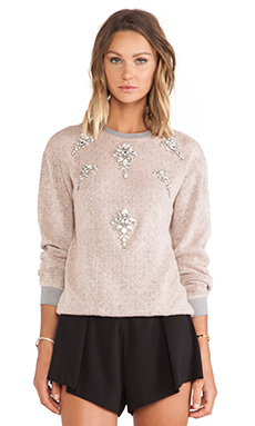 Benedita Pop Melange Woolen Sweatshirt in Pink & Grey
