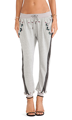 Benedita Crystal Sweatpant in Light & Dark Grey