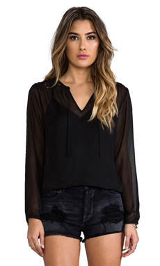 Beyond Vintage Long Sleeve Lace Top in Black