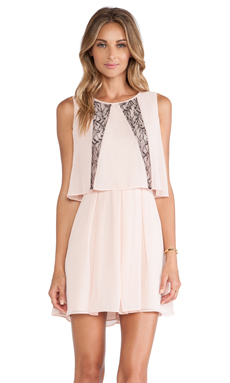 BCBGeneration Ruffle Dress in Rose Smoke