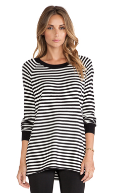 BCBGeneration Mini Stripe Boyfriend Sweater in Black Combo