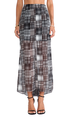 BCBGeneration Godet Maxi Skirt in Black Multi