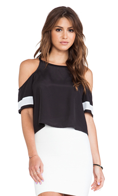 BCBGeneration Open Shoulder Athletic Tee in Black