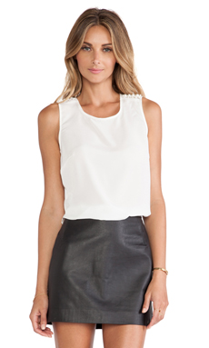 BCBGeneration Pear Trim Top in Whisper White