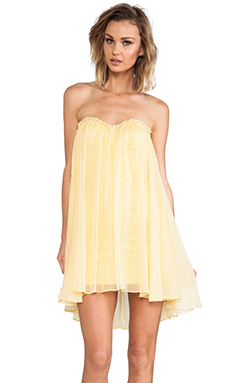 BLAQUE LABEL Strapless Mini Dress in Lemon