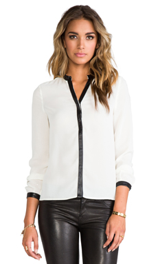 BLAQUE LABEL Leather Trim Blouse in White
